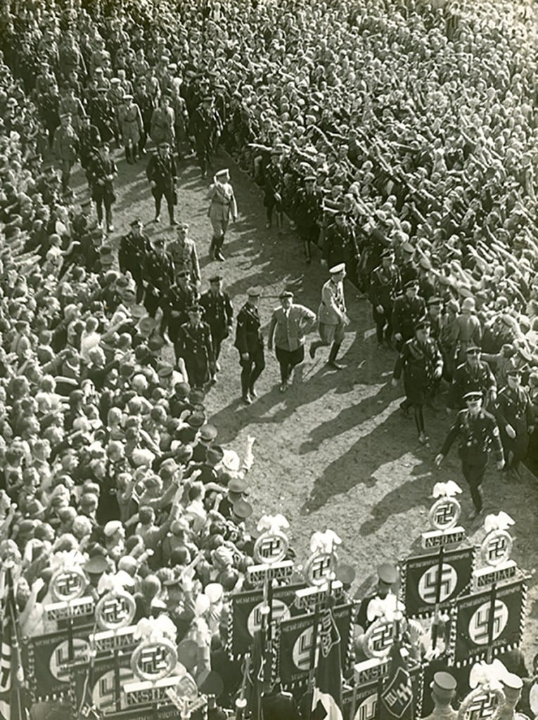 1935 Hitler walking thru a crowd