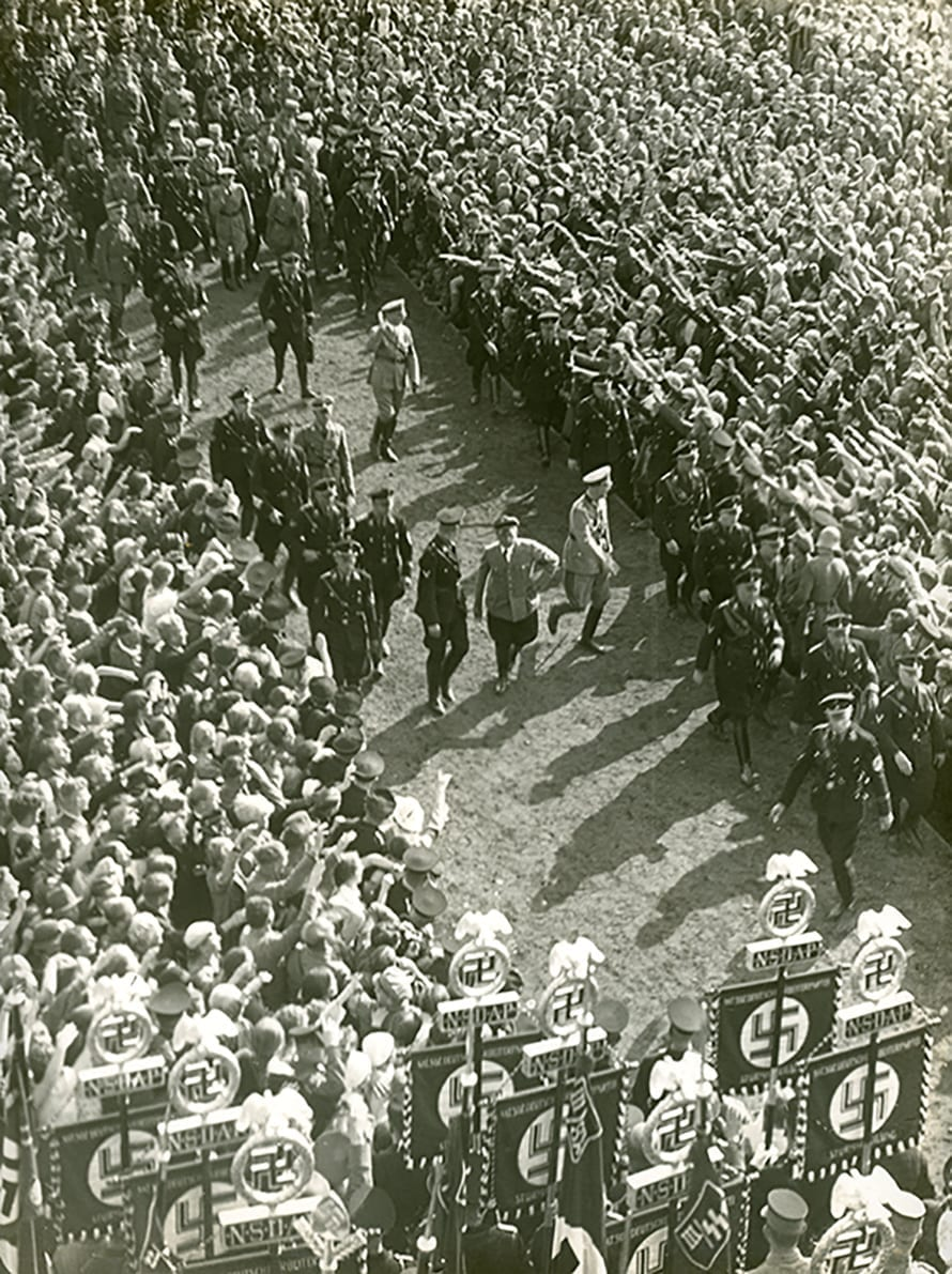 1935 Hitler walking through a crowd