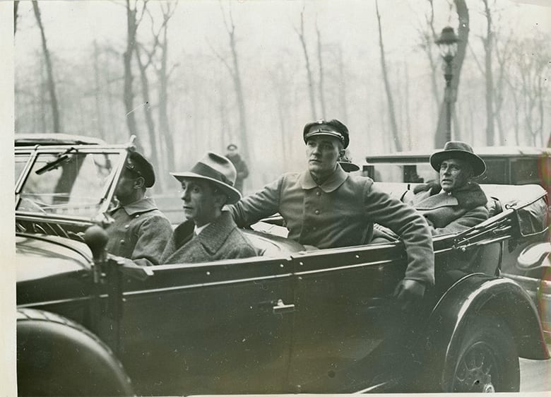 2-23-1932 opening of 2nd Reinstag Bldg Gobbels in car on way
