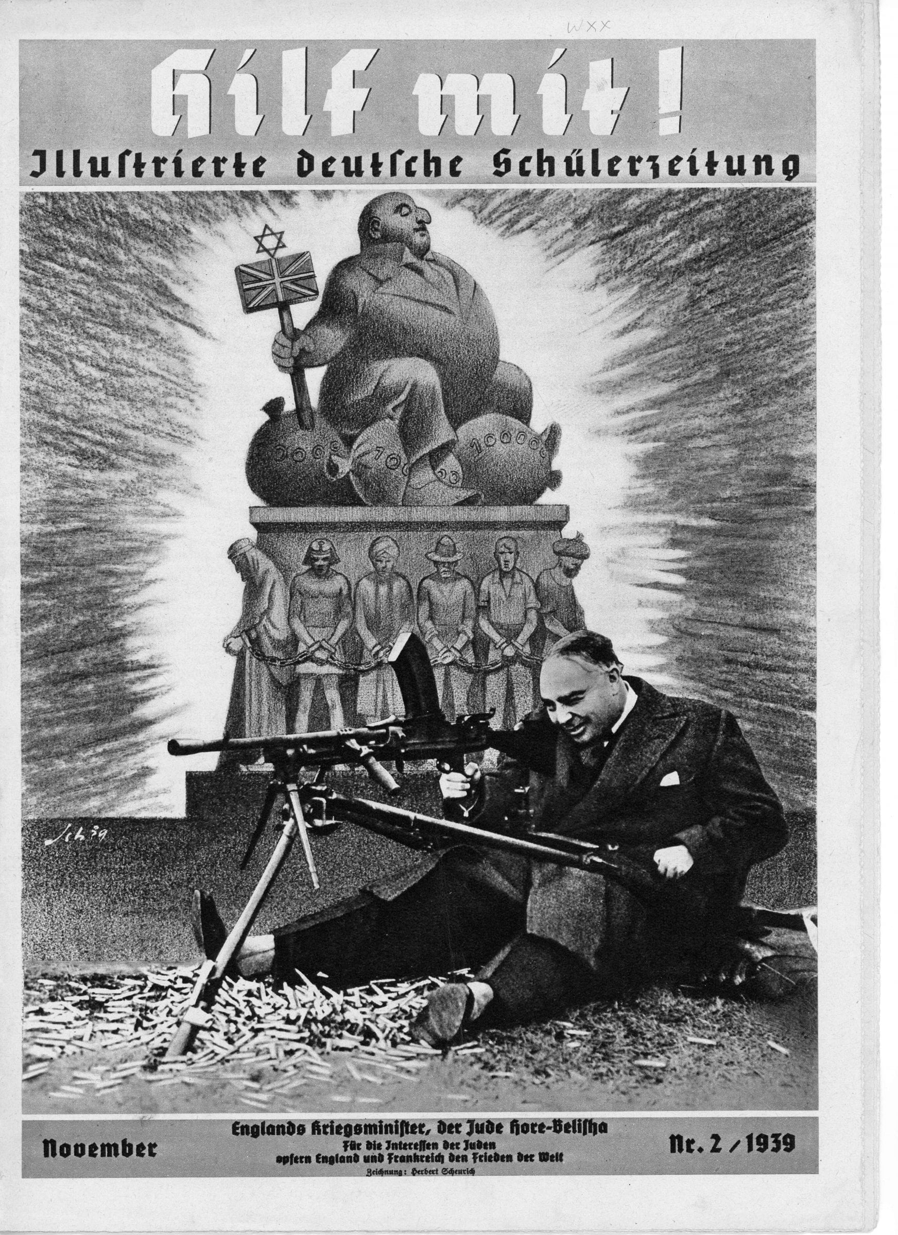 1939 German magazine showing English Jew sitting on bags of money above poor chained people